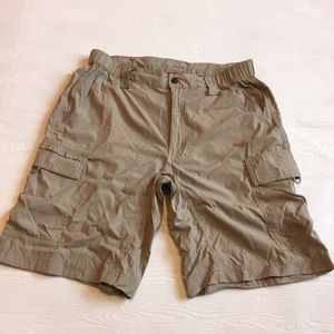Men's North Face Khaki Nylon Hiking Cargo Shorts